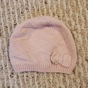 H&M 2-6 month pink cotton knit hat with bow